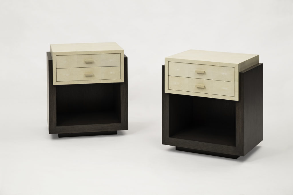 Bedside Tables in Oak & Shagreen