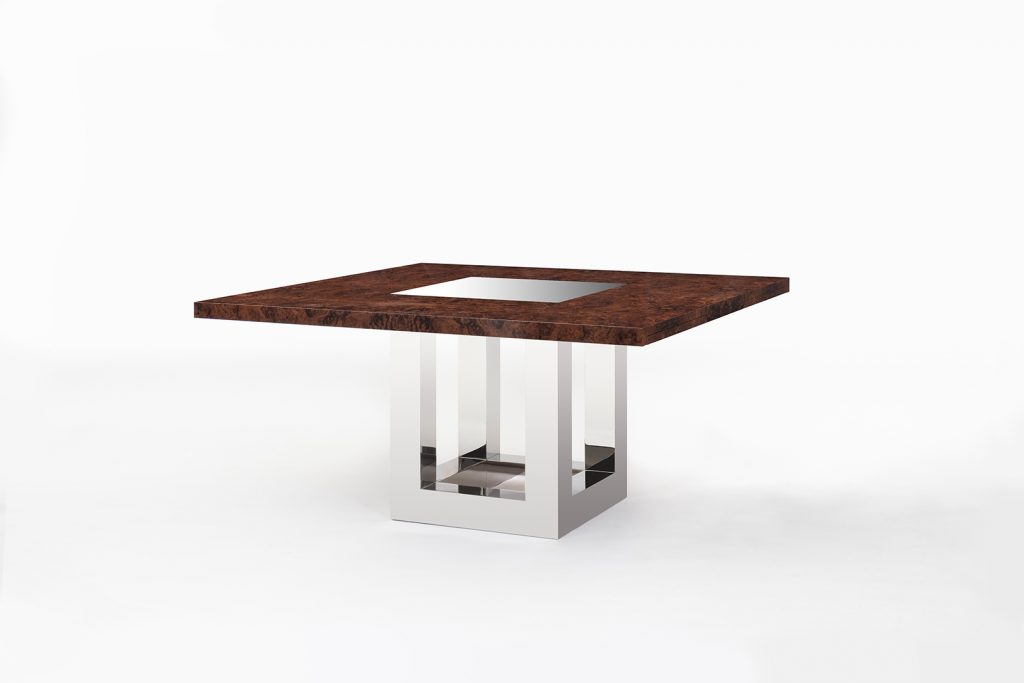 Dining Table in Walnut Burl & Polished Stainless Steel