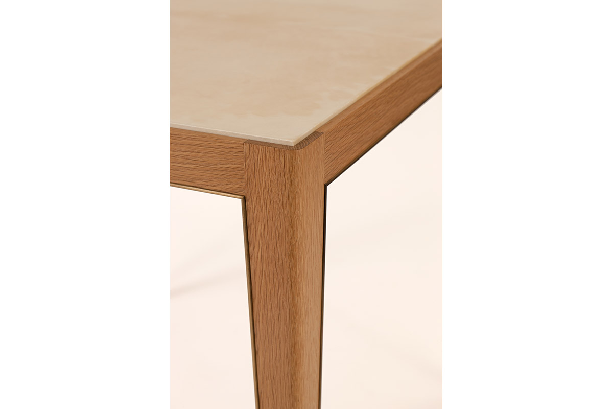 Game Table in Parchment, Oak & Bronze