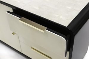 Night Stands in Black Lacquer, Parchment & Shagreen 1