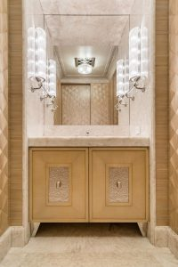 Powder Room in a Fan Pattern Straw Marquetry