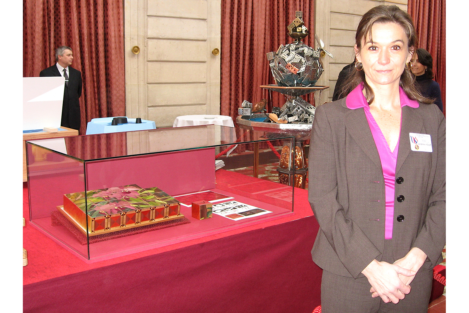 Sandrine with her masterpiece on display at the Elysee French palace