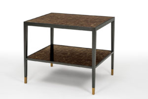 Dark Amber Mica & Bronze Side Table
