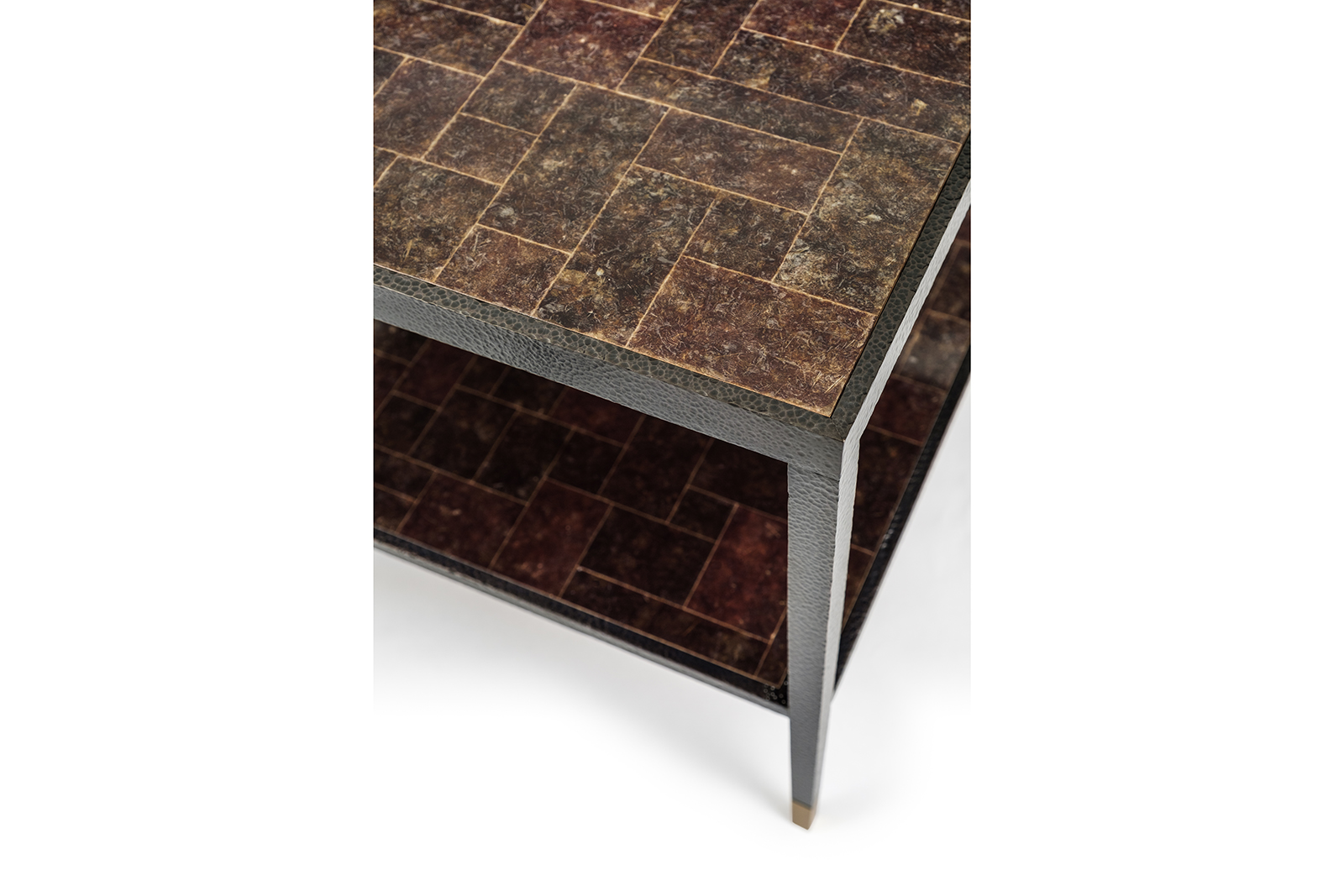 Detail of Side Table in Mica & Hammered Bronze