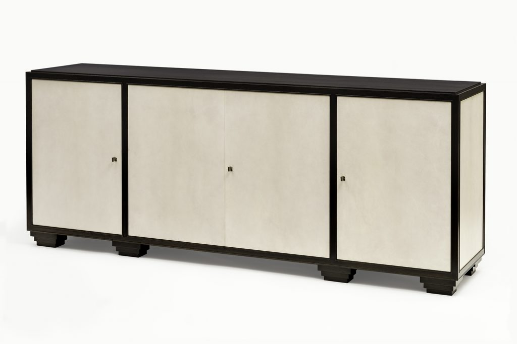 Sideboard in Ebonized Walnut & Grey Parchment