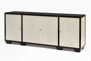 Ebonized Walnut & Grey Parchment Sideboard