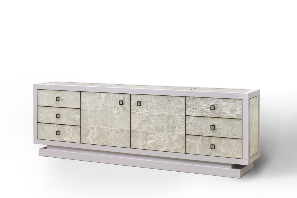 Sideboard with TV Lift in Gypsum, Lacquer & Bronze