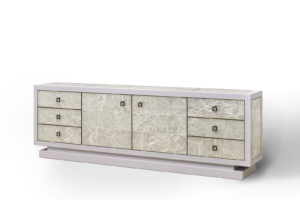 Sideboard w/ TV Lift in Gypsum, Lacquer & Bronze