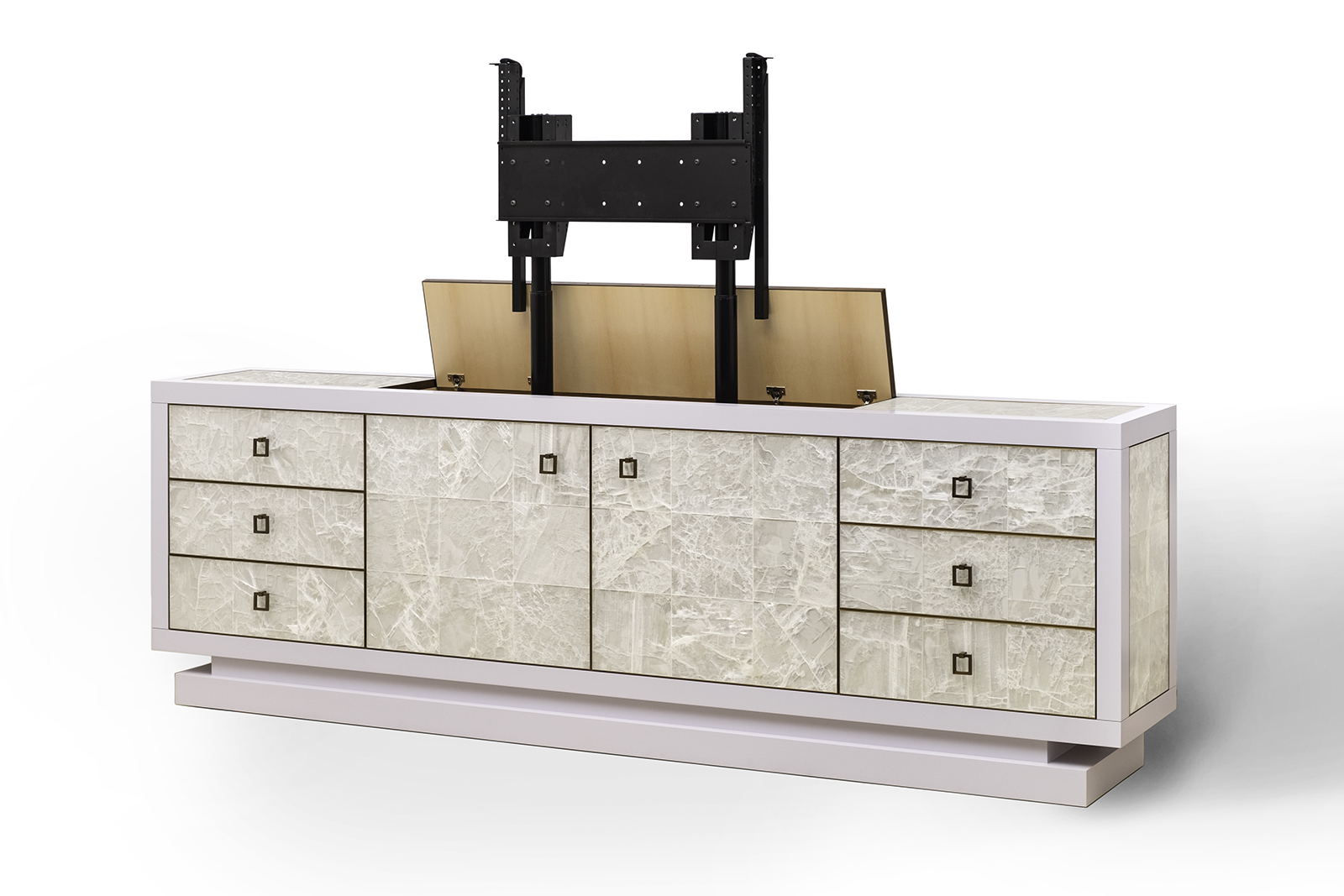 Sideboard Tv Lift sideboard w/ tv lift in gypsum, lacquer & bronze | atelier viollet