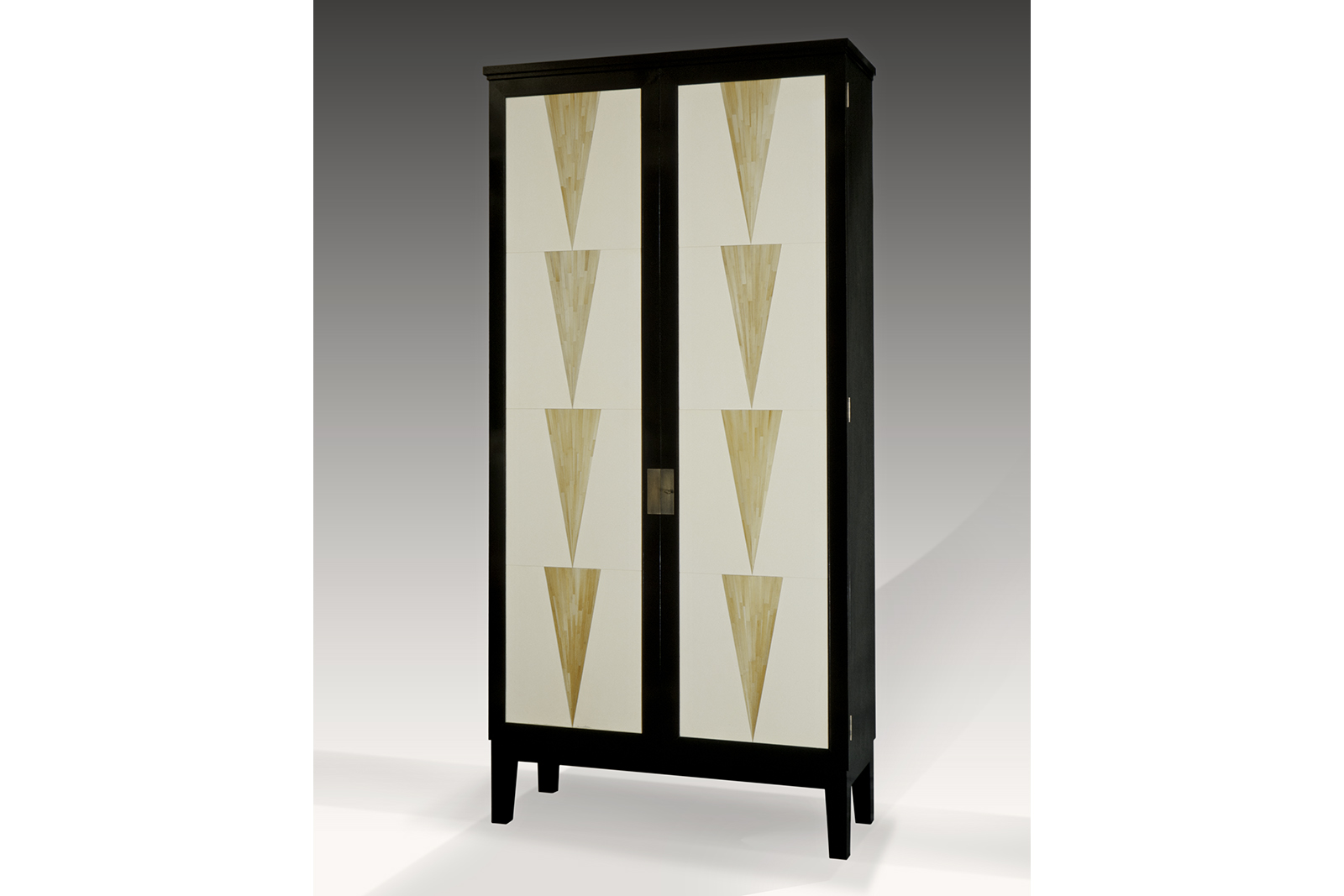 Armoire In Ebonized Mahogany, Straw Marquetry & Parchment