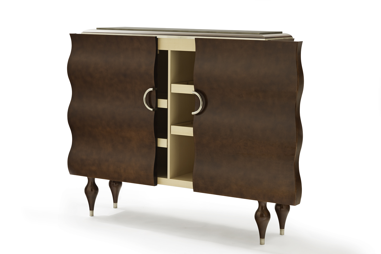 Bar Cabinet In Sycamore, Pewter & Tone-on-Tone Lacquer