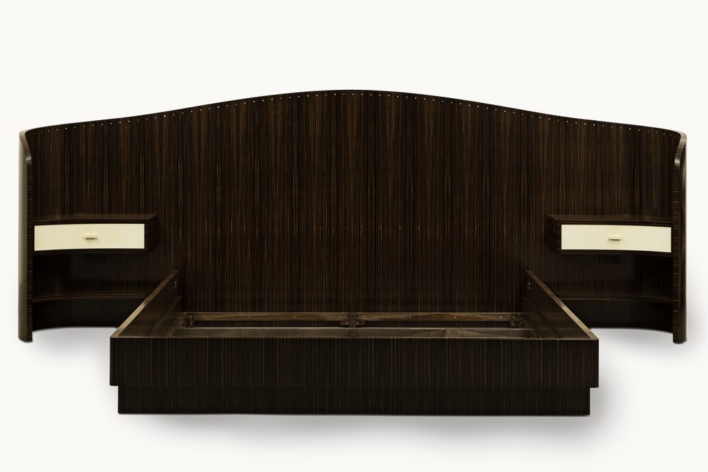 Bed In Macassar Ebony, Parchment And Mother-of-pearl