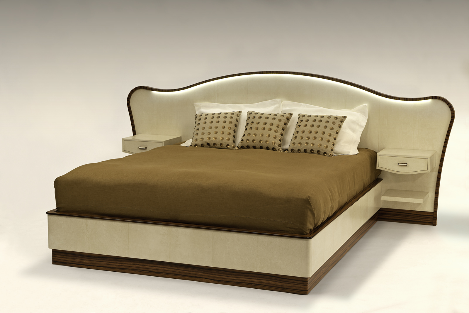 Bed In Parchment & Rosewood
