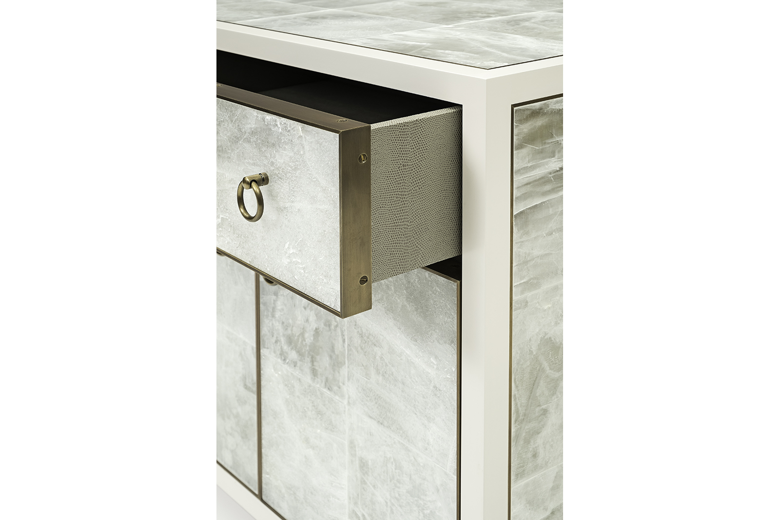 Bedside Table in Gypsum & White Lacquer
