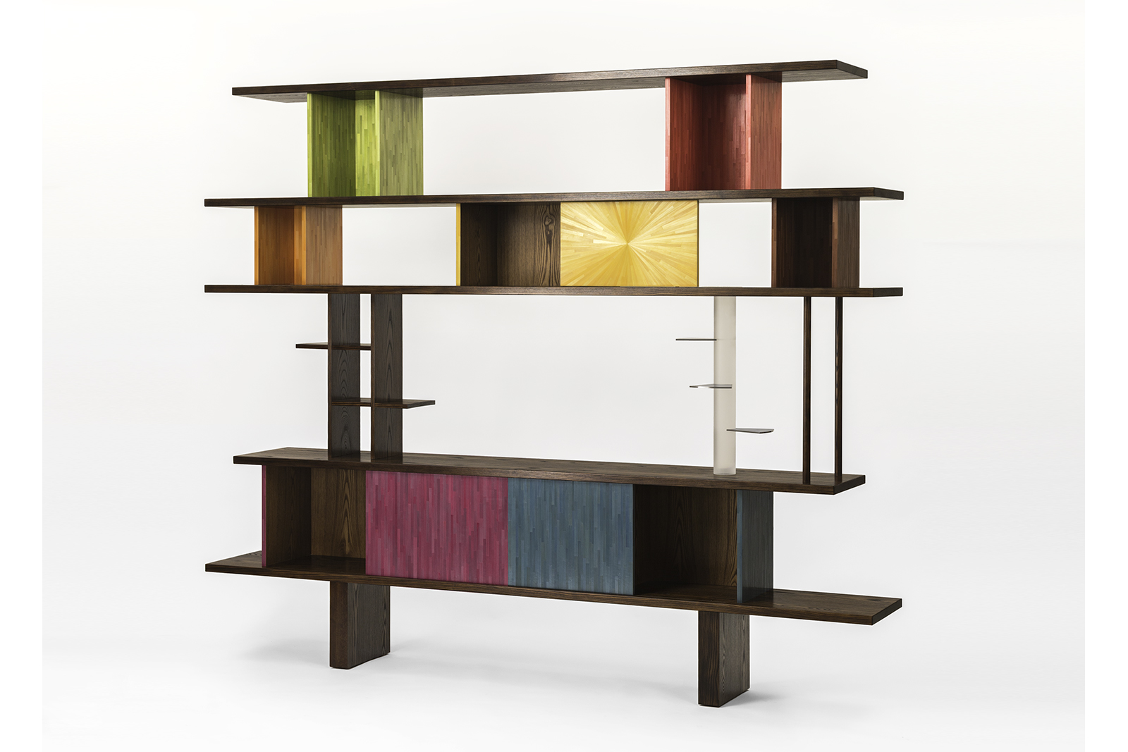 Bookcase In Burnt Ash, Straw Marquetry, Lucite & Blackened Steel