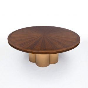 An Elegant Dining Table in Figured Walnut & Bronze