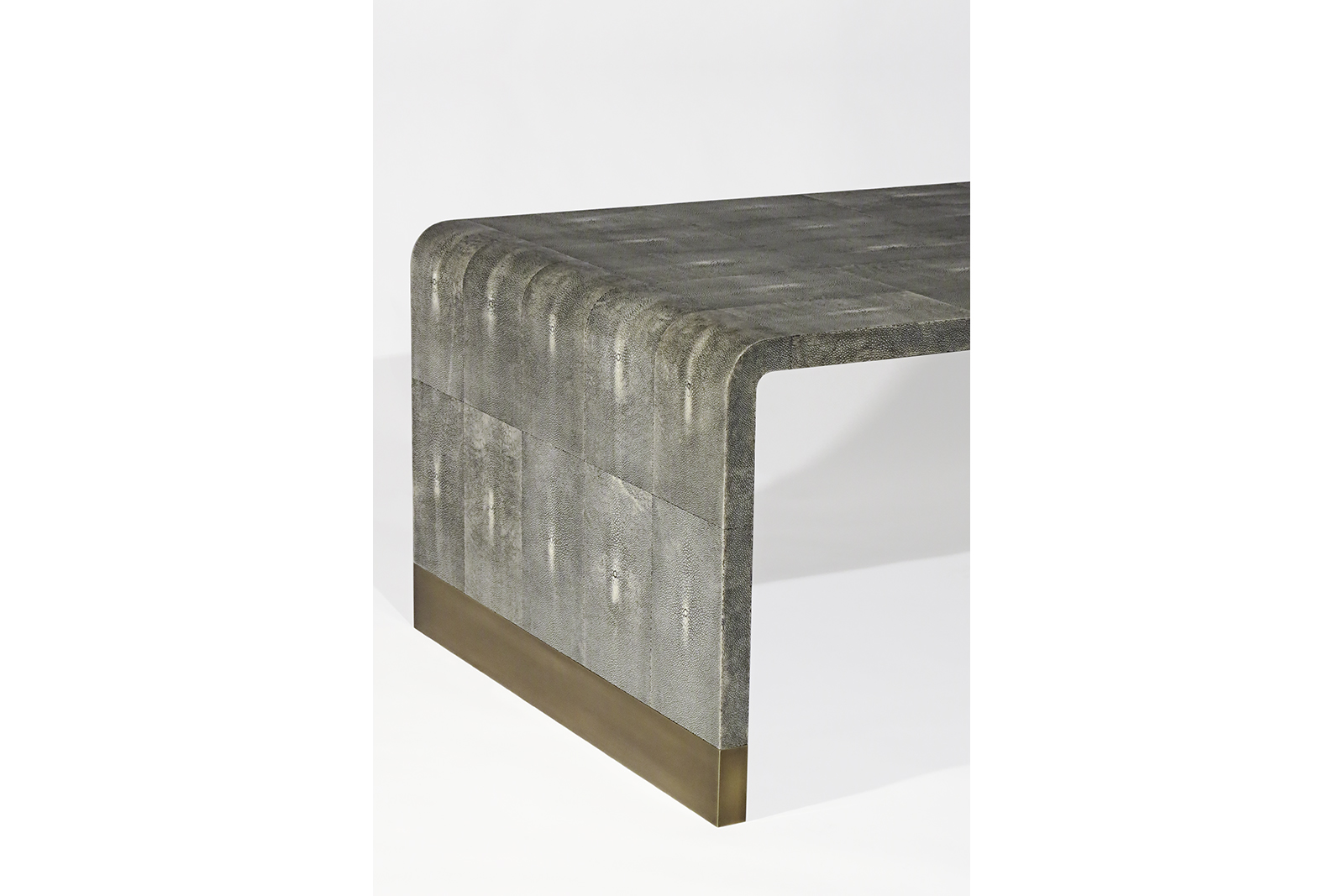 Coffee Table In Grey Shagreen & Bronze