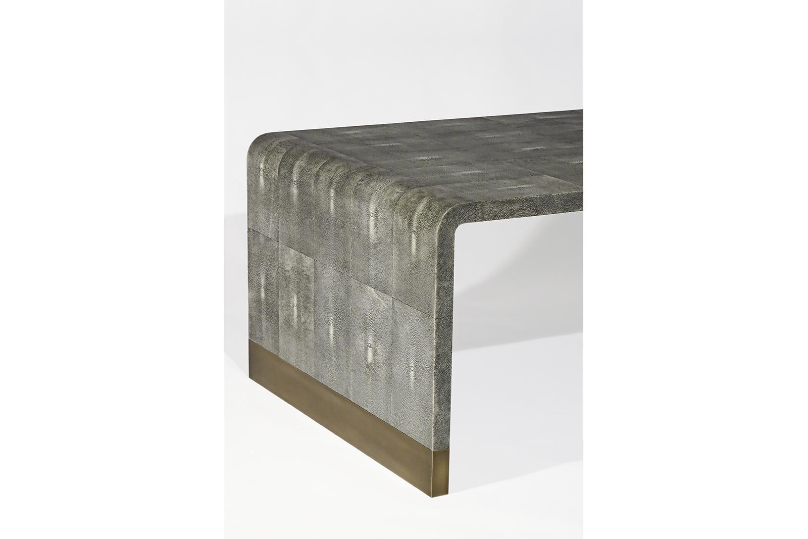 Coffee Table In Grey Shagreen & Bronze