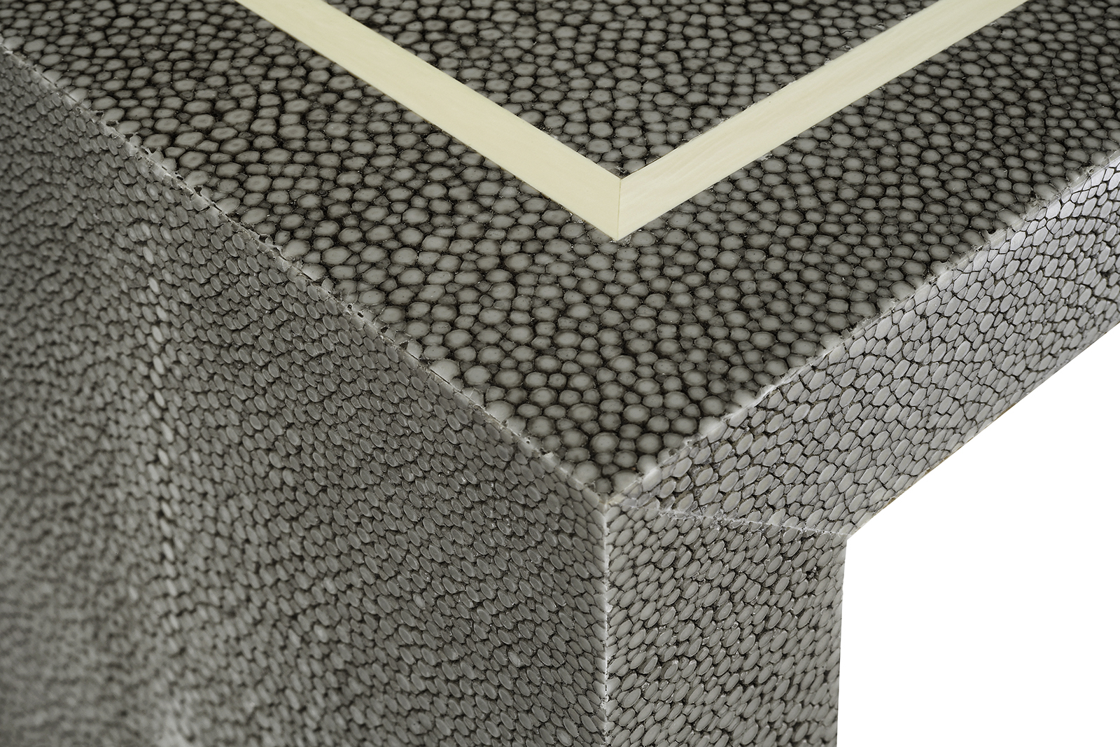Console In Grey Shagreen With Faux Ivory Inlay