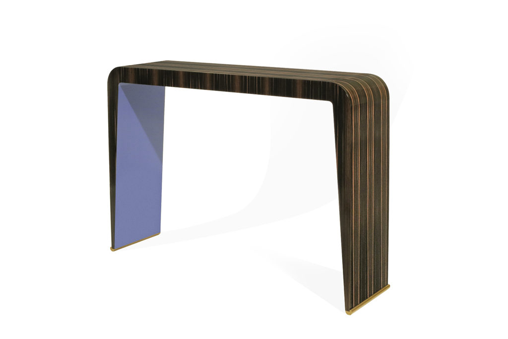 Console in Macassar & Blue Lacquer