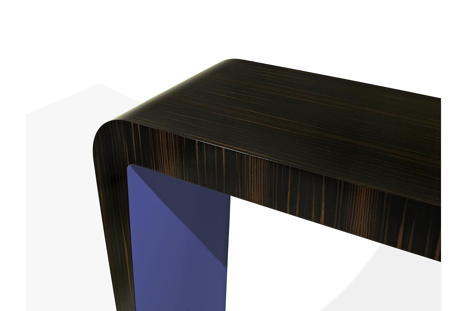 Console In Macassar Ebony, Blue Lacquer & Bronze