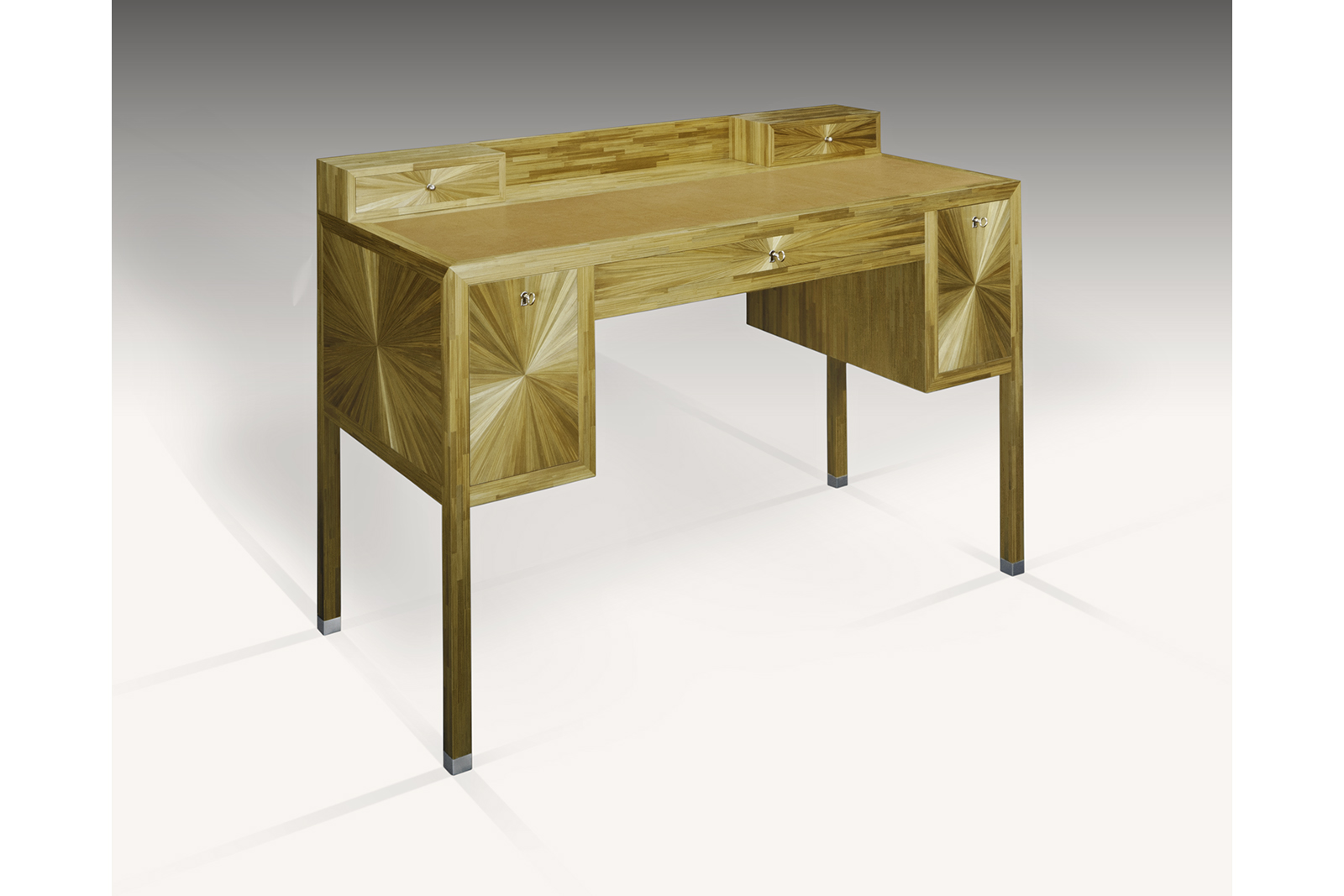 Desk In Straw Marquetry & Leather
