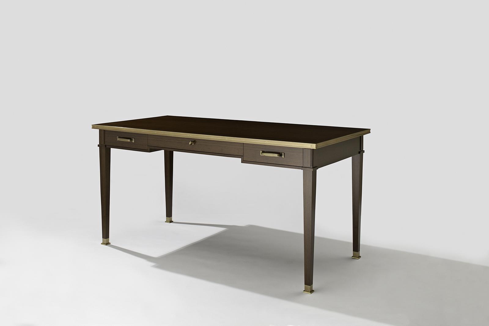 Desk In Walnut & Bronze