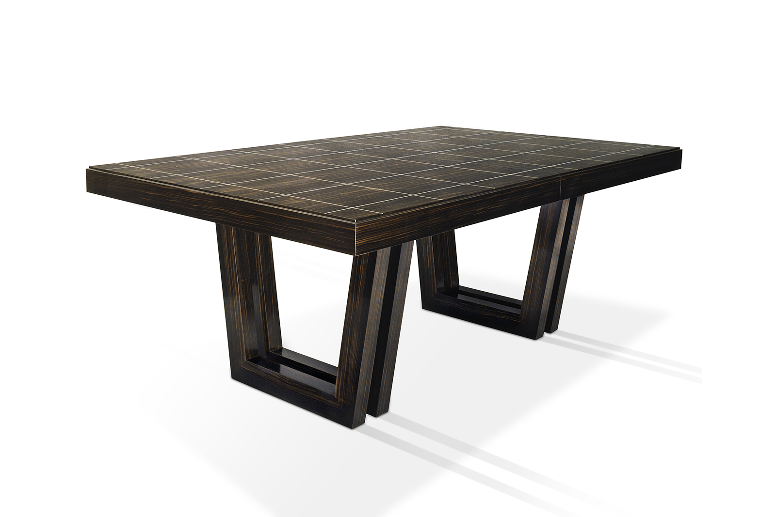 Dining Table In Macassar Ebony With Bone Inlay