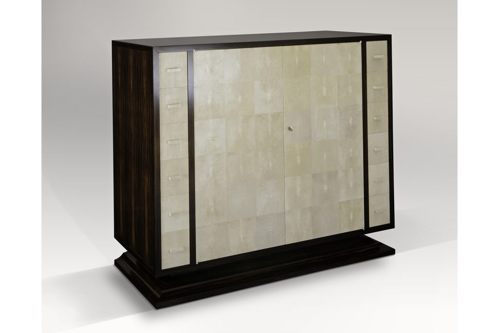 Dominique Inspired Low Cabinet In Shagreen & Macassar Ebony