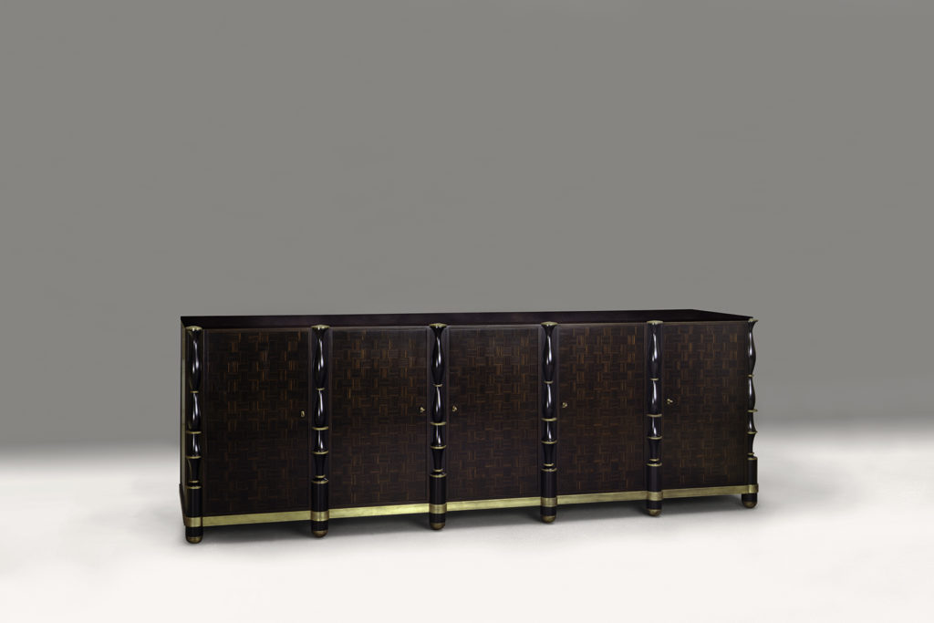 E. Printz Inspired Sideboard in Macassar Ebony & Bronze