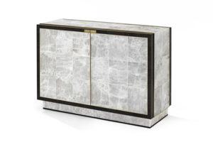 Cabinet in Gypsum, Palmwood & Gilt Bronze