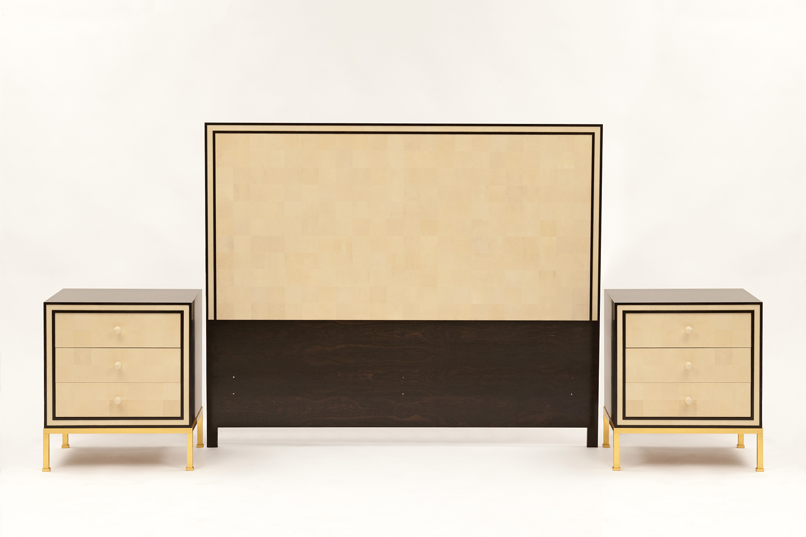 Headboard & Night Stands In Ceylon Ebony, Shagreen Mosaic, Faux Ivory & Gilt Bronze