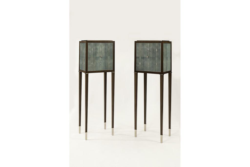 High Cabinets in Shagreen & Walnut