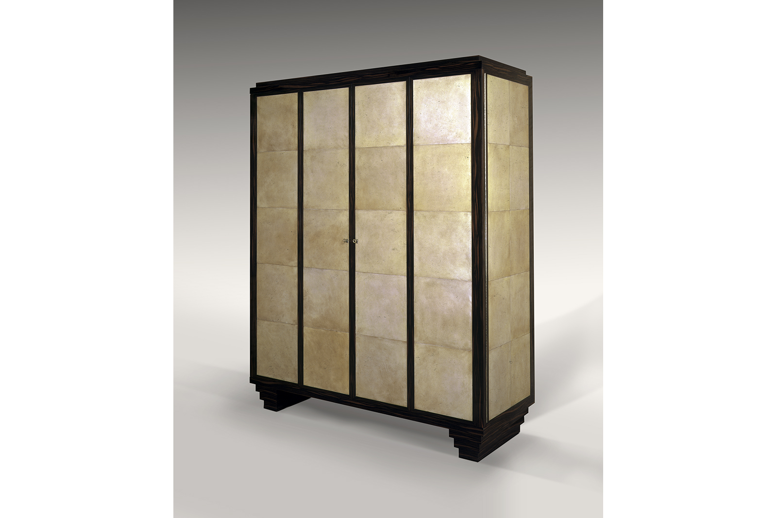 J.m. Frank Inspired Armoire In Parchment & Macassar Ebony