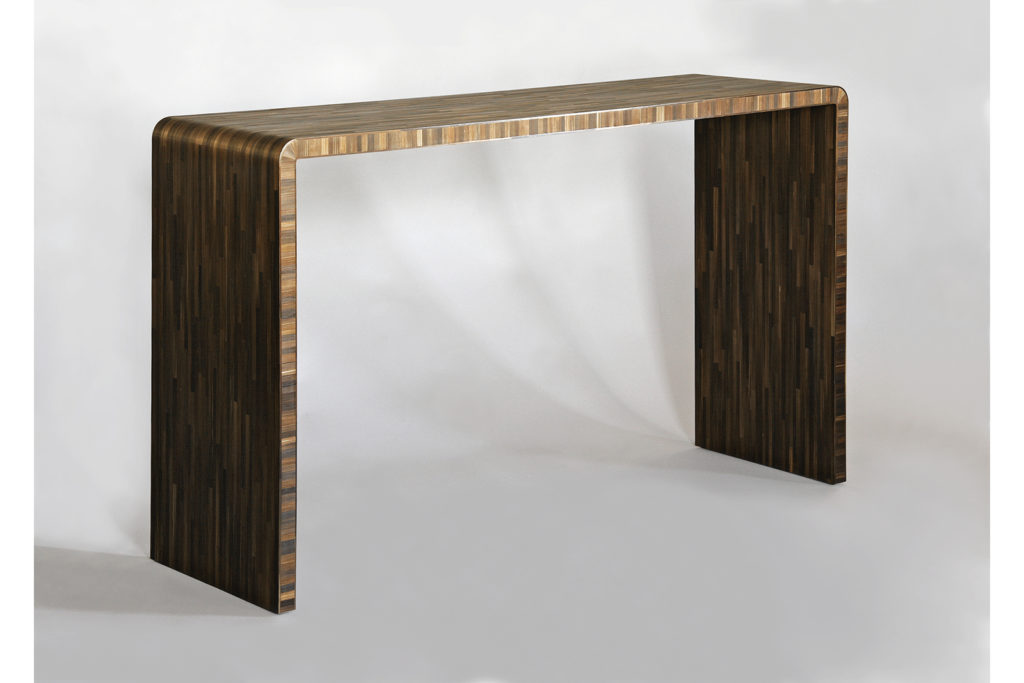 J.M.F Inspired Console in Straw Marquetry