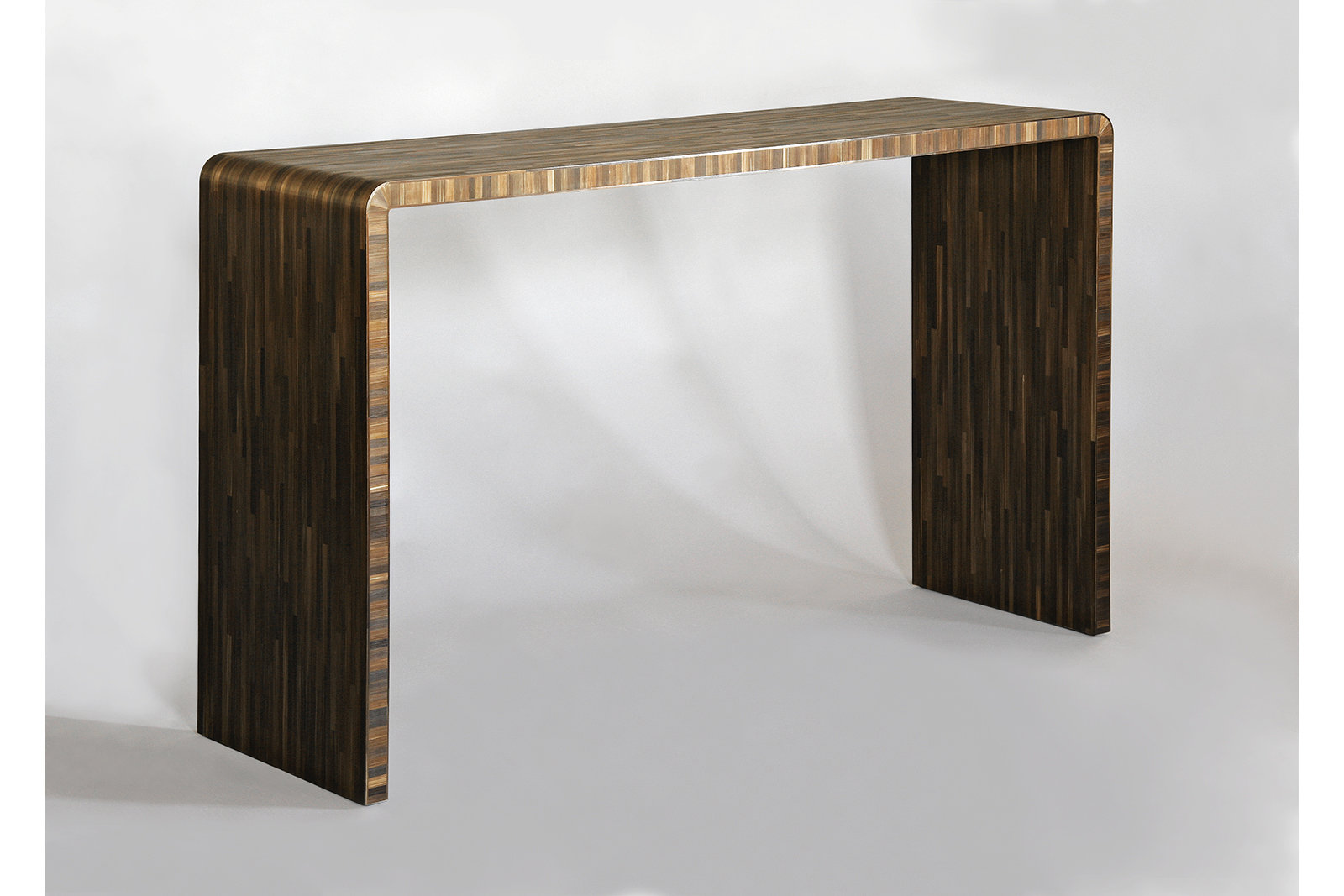 J.m. Frank Inspired Console In Straw Marquetry