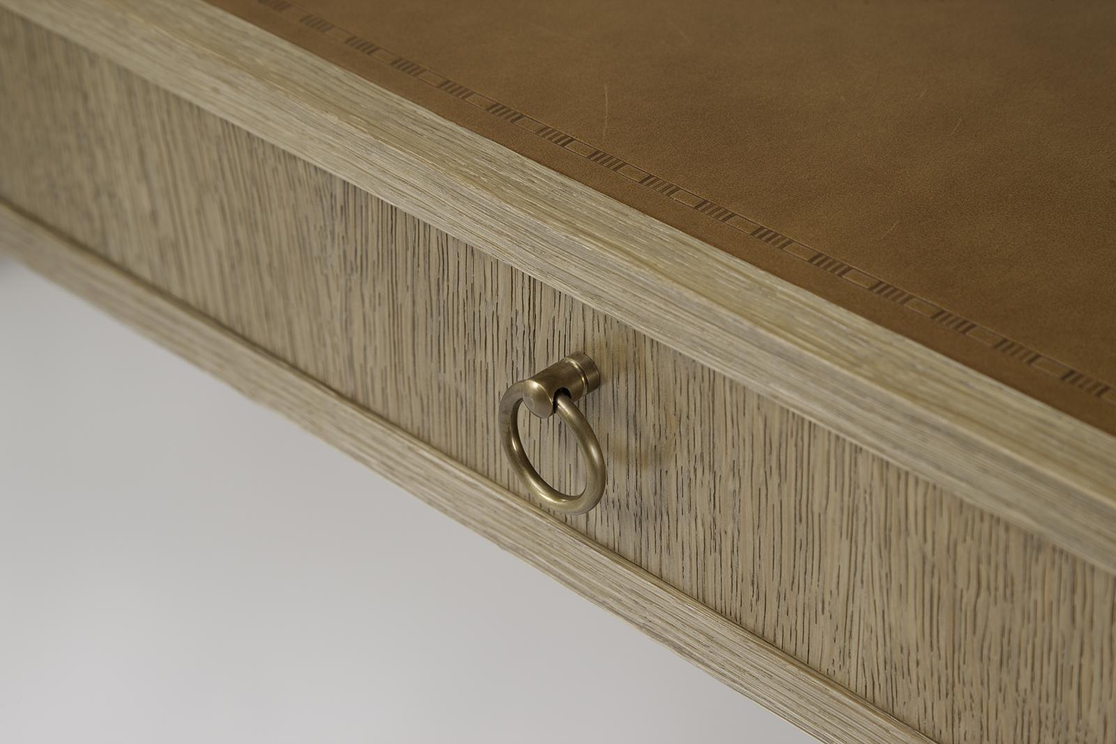 J.m. Frank Inspired Desk In Oak & Leather