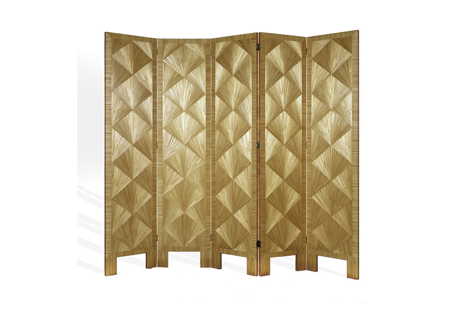 J.m. Frank Inspired Screen In Straw Marquetry With Fan Pattern