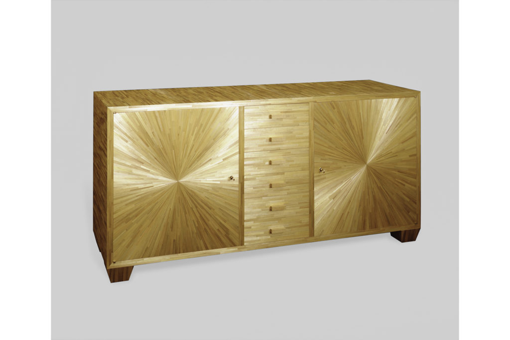 J.M.F Inspired Sideboard in Straw Marquetry
