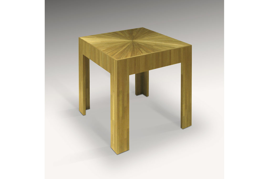 J.M.F Inspired Square Table in Straw Marquetry