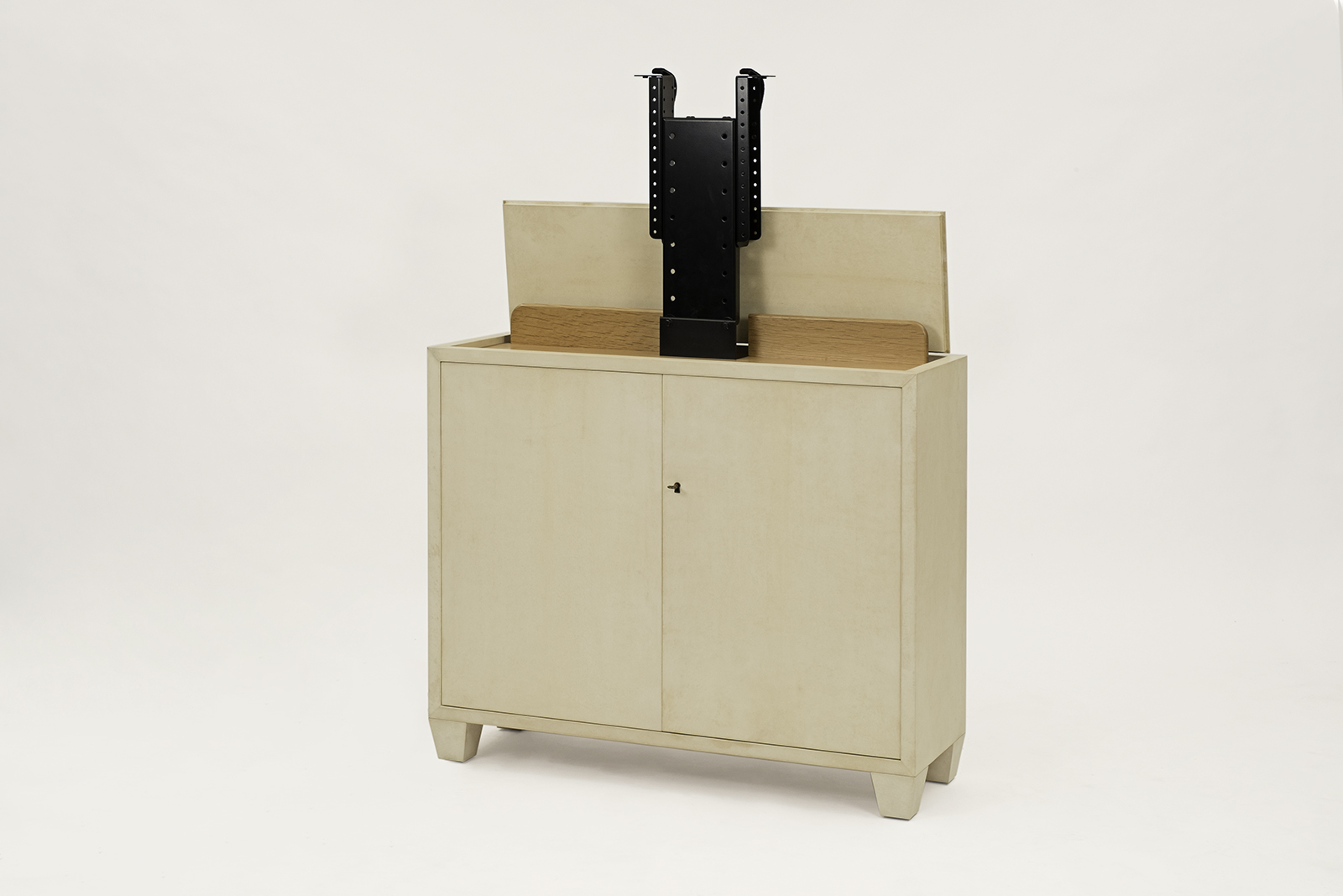 J.m. Frank Inspired Tv Lift Cabinet In Goat Skin Parchment
