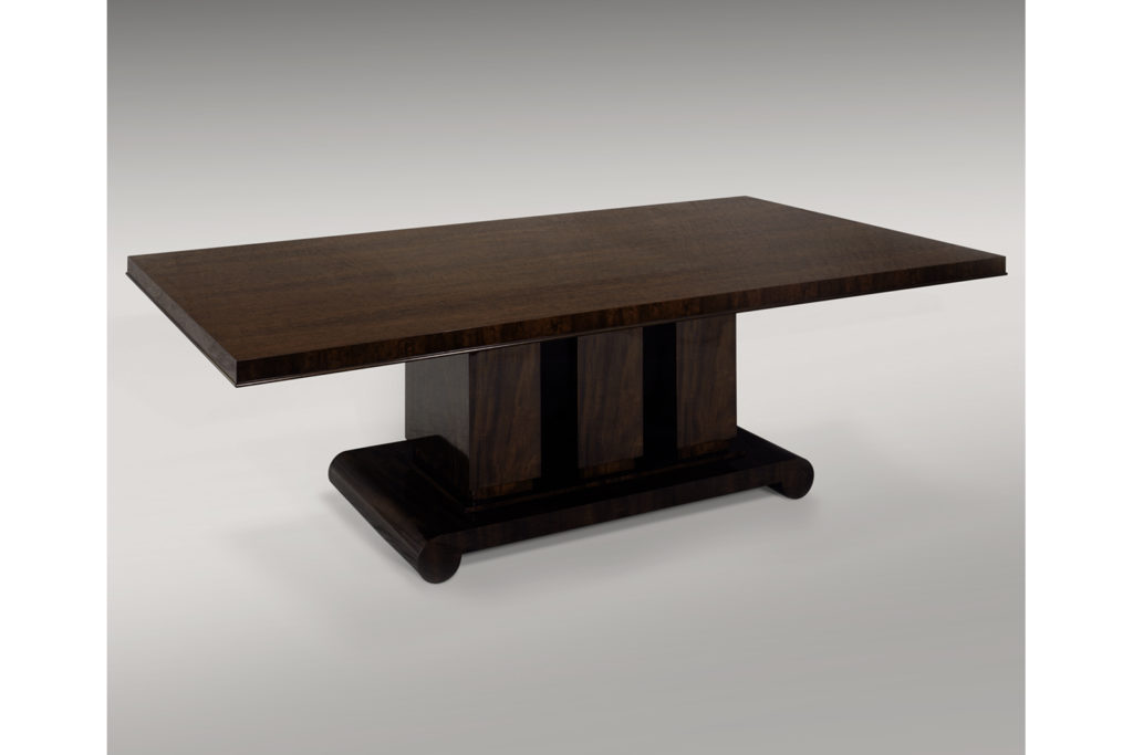 Jacques-Emile Ruhlmann Inspired Dining Table In Figured Vintage Mahogany