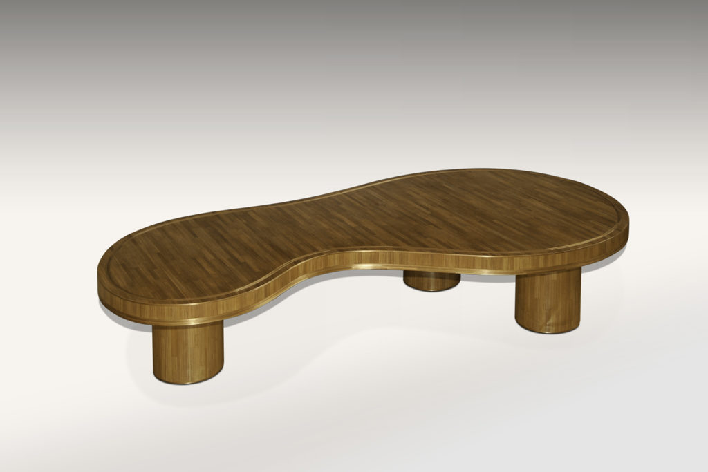 Jean Royere Inspired Coffee Table in Straw Marquetry