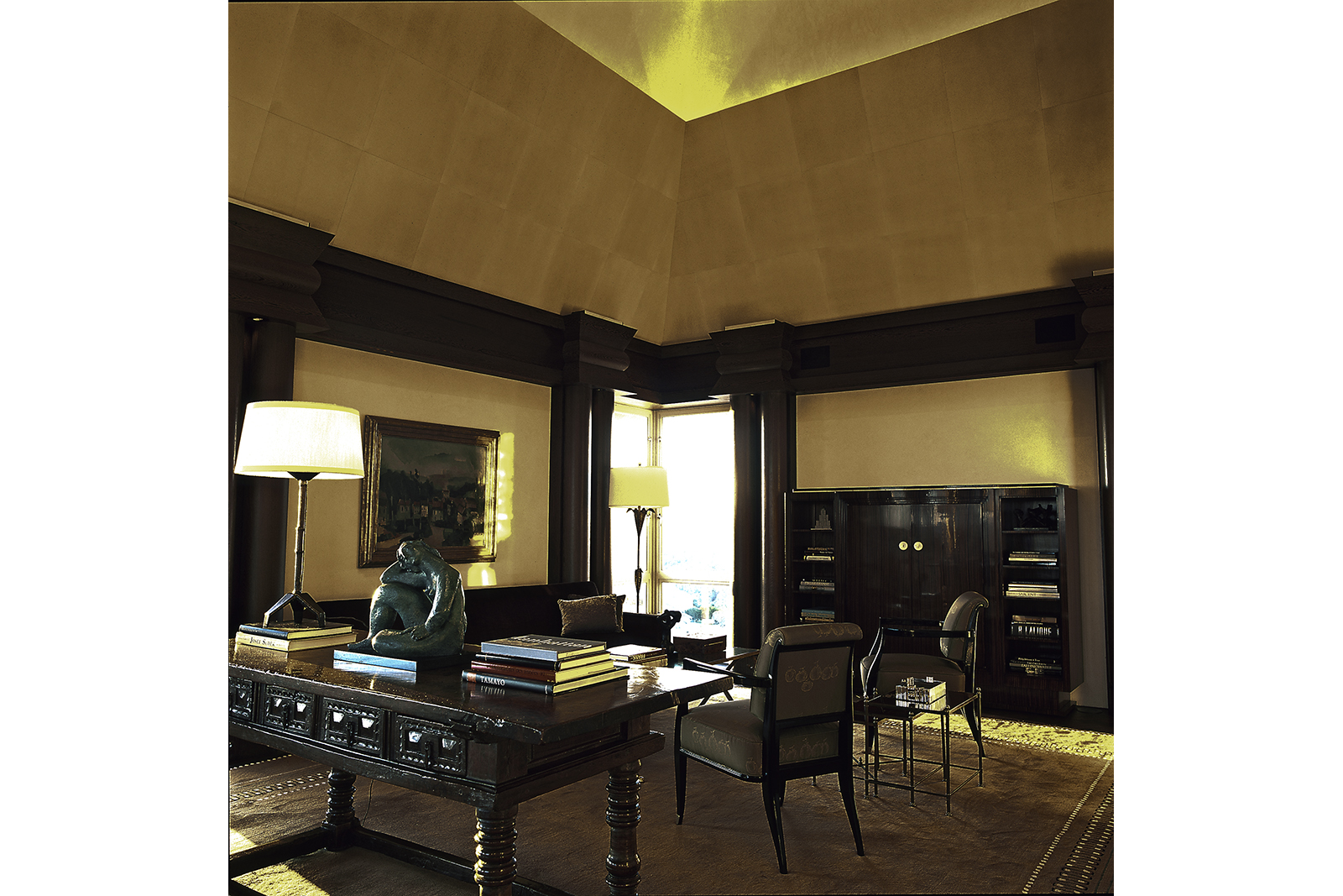 Living Room with Parchment Tapered Ceiling