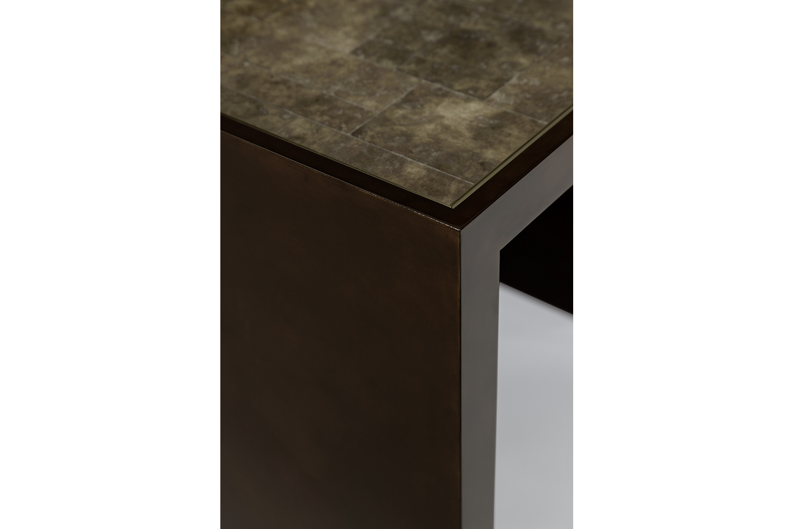 Nesting Tables In Mica, Tone-on-tone Lacquer & Gilded Bronze