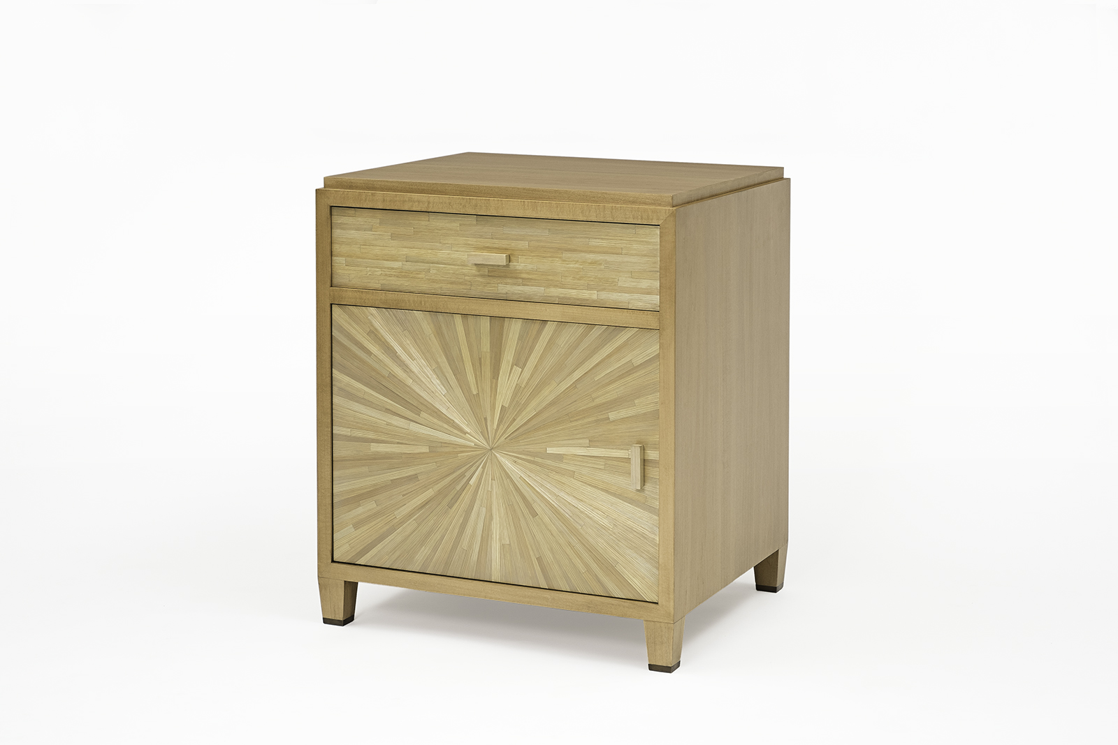 Night Stand In Straw Marquetry & Cherry