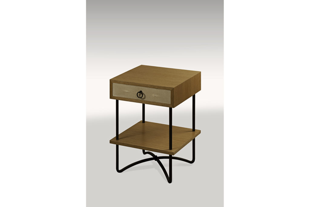 Seyssel Night Table in Shagreen, Oak & Steel