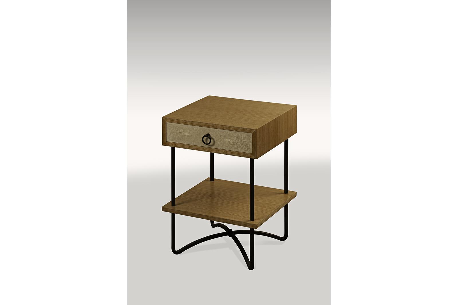 Night Table In Shagreen, Oak & Blackened Steel