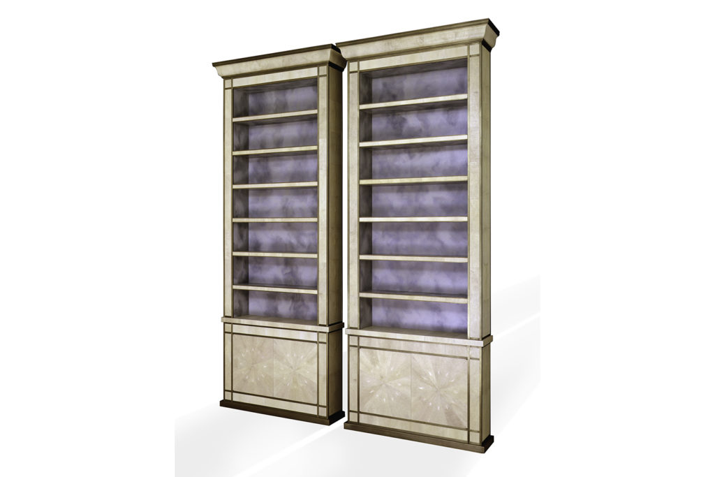 Pair of Bookcases in Shagreen & Bronze