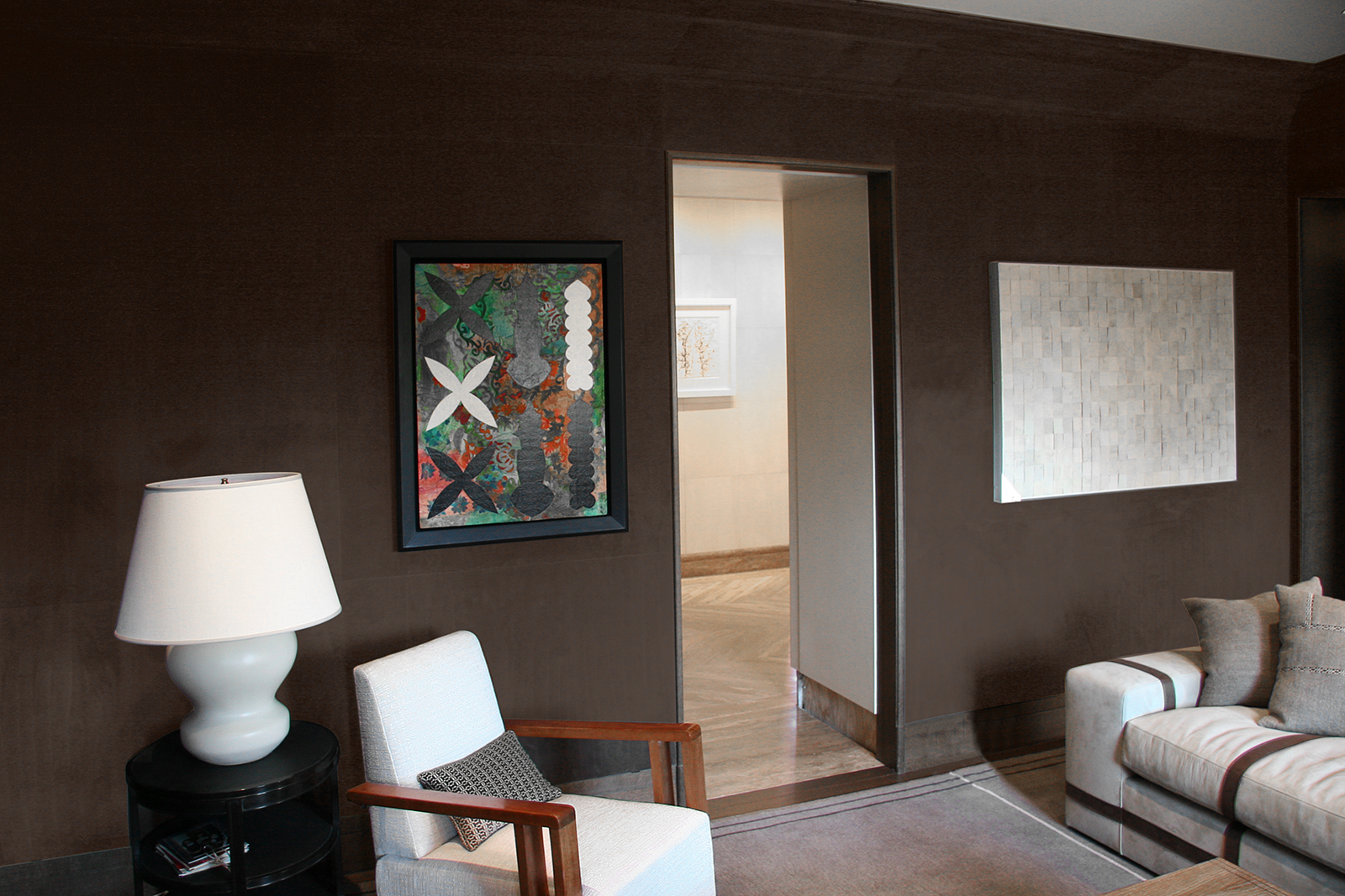 Paneled Room in Suede